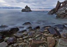 Strand Lloret De-Mrz panoramisch Lizenzfreie Stockfotografie