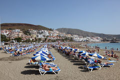Strand in Los Cristianos, Tenerife Stockfoto