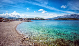 Strand in Lumbarda in Kroatië stock afbeelding