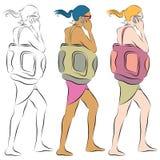 Strand-Mädchen, das am Telefon spricht Lizenzfreie Stockbilder