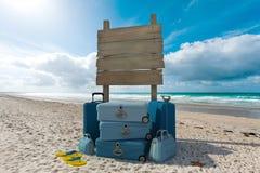 Strand macht Zeichen Urlaub Stockfotos