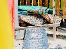 Strand mats on the beach. In Indonesia stock image