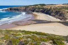 Strand med klippor och vegetation i Almograve Arkivbild
