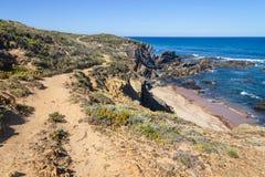 Strand med klippor och vegetation i Almograve Arkivfoto
