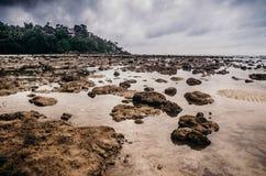 Strand med lågvatten i dyster dag Royaltyfri Fotografi