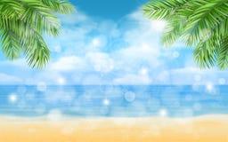 Strand med palmträd- och viktigbakgrund Royaltyfri Bild