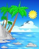 Strand med palmträd/tropisk strand Royaltyfri Fotografi
