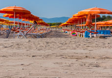 Strand med rader av orange paraplyer Fotografering för Bildbyråer