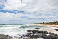 Strand med revar och den molniga skyen Fotografering för Bildbyråer