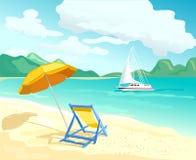 strand med soldagdrivare och slags solskydd stock illustrationer