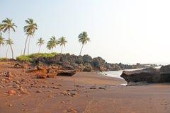 Strand med svart sand och palmträd Vulkanisk sand a för mörk brunt Royaltyfria Bilder
