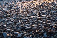 Strand med våta skinande stenar på solnedgång fotografering för bildbyråer