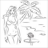 strand meisje Stock Illustratie