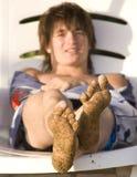 Strand, mens, voet, zand. royalty-vrije stock foto