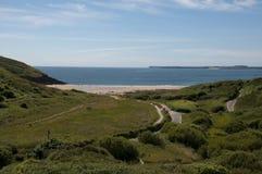 strand mer manorbier södra wales Royaltyfria Bilder