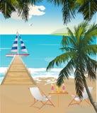 Strand met een pier en een boot royalty-vrije illustratie