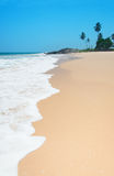 Strand met golven tegen rots en palmen in zonnige dag Stock Foto