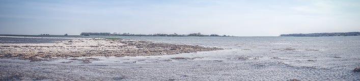 Strand met groene gebieden en blauwe hemel royalty-vrije stock foto's