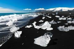 Strand met ijsbergen stock afbeelding