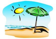 Strand met paraplu Stock Afbeelding