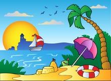 Strand met paraplu en zandkasteel vector illustratie