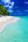 Strand met rotsen en palmen op Cook Islands, Rarotonga Stock Afbeelding