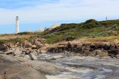 Strand met Vuurtoren Augusta Westelijk Australië Stock Afbeelding