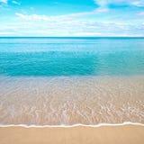 Strand mit dem Abbrechen bewegt in die Tropen wellenartig stockbilder