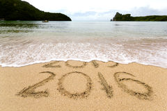 Strand mit 2016 Sanden Stockfoto
