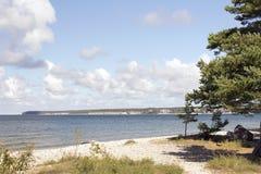 Strand mit Stein und Bäumen Stockfotografie