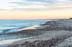 Strand in Mittelmeer-Valencia von Spanien Lizenzfreie Stockbilder