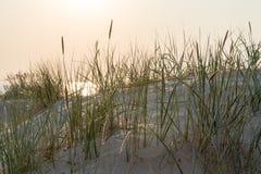Strand na de zonsondergang met zand en wolken royalty-vrije stock foto's