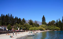 Strand, nahe See Wakatipu Stockbild
