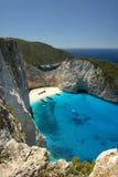 Strand Navagio in Zakynthos, Griekenland Stock Afbeelding