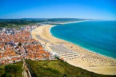 Strand in Nazare - Portugal Stockbilder