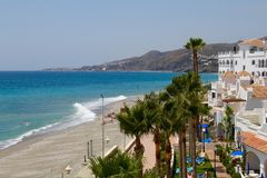 Strand in Nerja Stock Foto's