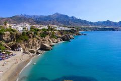 Strand in Nerja Stockbild