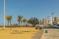 Strand och byggnader av Fortaleza Brasilien royaltyfri bild