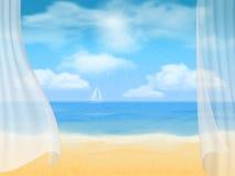 Strand och gardiner Arkivfoto
