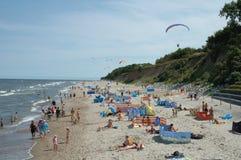 Strand och paragliders Arkivbild