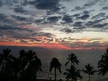Strand och solnedgånghimmel Royaltyfria Foton