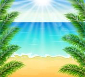 Strand och tropiskt hav med den ljusa solen Vektor Illustrationer