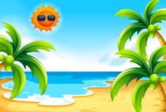 Strand onder de zon vector illustratie