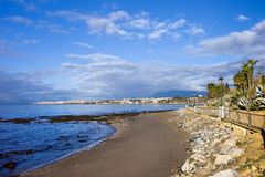 Strand op Costa del Sol in Spanje Stock Afbeeldingen