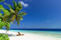 Strand op de Maldiven Stock Afbeelding