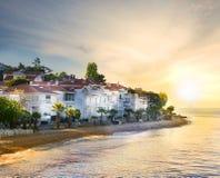 Strand op eiland met palmen Royalty-vrije Stock Foto's