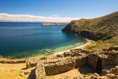 Strand op Eiland van de Zon, Titicaca-Meer, Bolivië Royalty-vrije Stock Fotografie