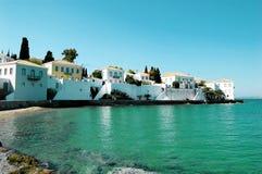 Strand op het eiland in Griekenland Stock Afbeeldingen