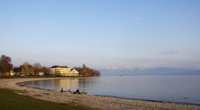 Strand op het Meer van Konstanz Stock Afbeeldingen
