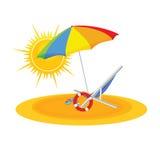 Strand op kleuren vectorillustratie Stock Afbeeldingen